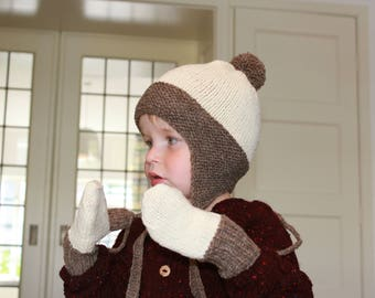 Hand Knitted ORGANIC Merino Wool Baby, Toddler & Kids Set: Earflap Hat and Mittens in Natural and Light Brown