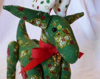 Christmas Reindeer Decoration~~Deer B~Handcrafted Green & Red Print Fabric~Whimsical Polka Dot Antlers~Soft Body Deer