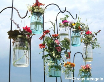Wedding Aisle Mason Jar DIY Hanging Flower Vases or Lanterns 8 Gold or Silver Hanging Flower Lids, Wedding, Party, Outdoor Event, No Jars