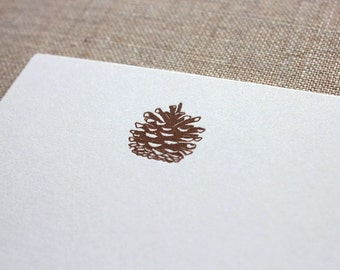 Flat Card Set with Letterpress Pine Cone (vertical)