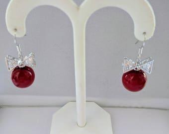 Swarovski crystal earrings, Red Christmas  Earrings,  Crystal bow tie earrings,  Swarovski Crystal  hook Earrings, Crystal Bridal.