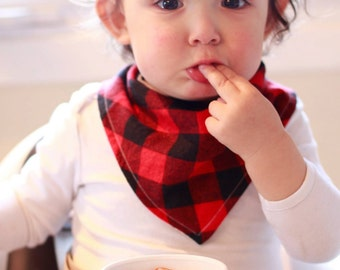 Red Buffalo Plaid Bandana Bib - Baby Toddler Drool Bib - Lumberjack Plaid