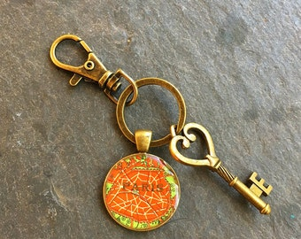 Paris Keychain Bronze with Ring Swivel Clasp and Key Vintage  Map of France