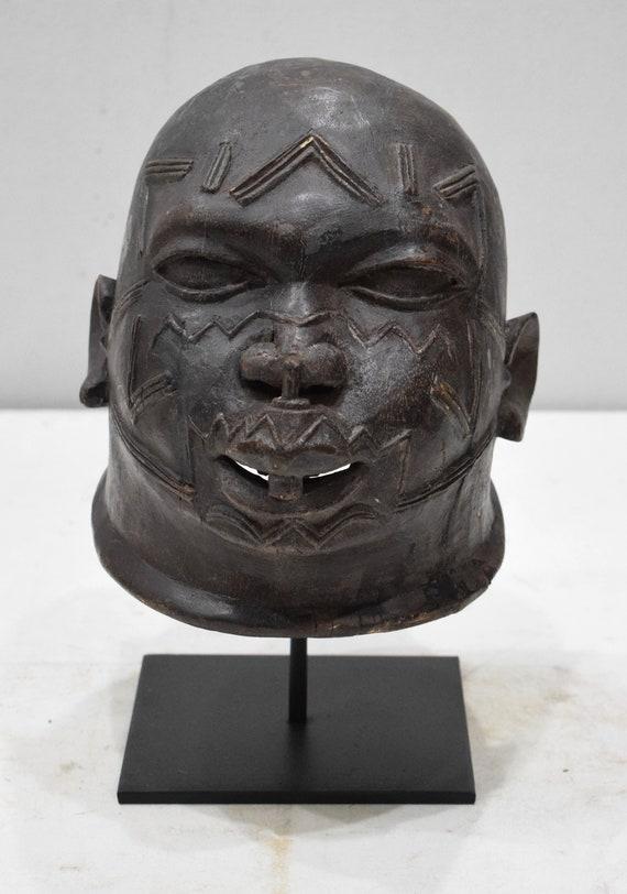 "African Mask Makonde Helmet Black Wood Male Tanzania Mask 8"""