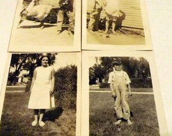 Sepia vintage children photographs set of four