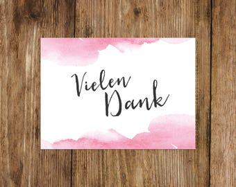"Postcard ""Thank you"", Watercolor wedding Thank you"