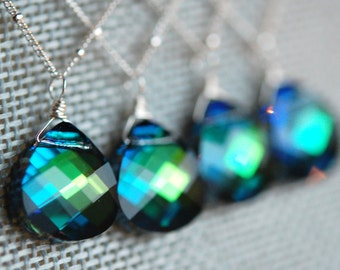 Set of 6 Peacock Bridesmaid Necklaces, Blue Green Swarovski Crystal Briolette 15 mm and Sterling Silver Chain