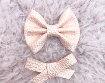Apricot Pearl Vegan Leather Brooke or Madison Bow