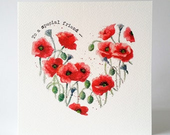 Red Poppies card from my hand painted watercolour design, personalised with your choice of text on the front and inside