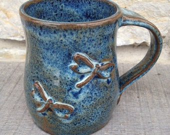 Wheel Thrown Pottery Mug with two Dragonflies - Blue Pottery