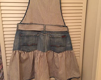 Repurposed /Up-cycled Jeans/Seven for all Mankind/Full Apron/Blue Ticking fabric