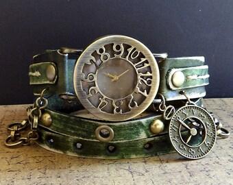 Green Leather watch, Rustic wrap watch, Women's watch, Women's jewelry, Gift for women's, Leather bracelet