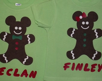 Christmas Gingerbread Mickey Minnie Mouse Holiday Disney Inspired Shirt Personalized Custom