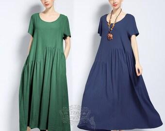 Anysize Summer Series soft linen&cotton loose dress plus size dress plus size clothing Spring Summer dress Spring Summer clothing F149A