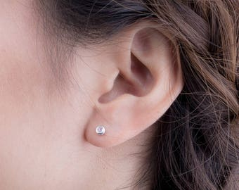 Tiny Moonstone Stud Earrings, Sterling Silver Gold Plated, Gemstone Earrings, Minimal Lunaijewelry, Handmade, Gift for her, STD075MOO