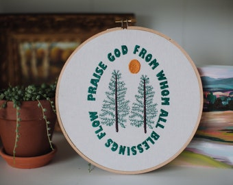 Praise God From Whom All Blessings Flow Doxology Embroidered Wall Hanging Home Decor Handmade Gift