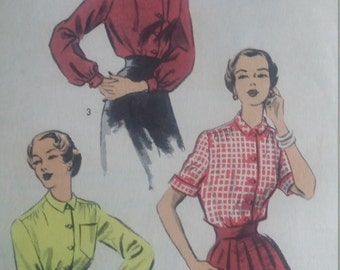 Vintage Advance 5618 Sewing Pattern Size 14 Bust 32 Blouses