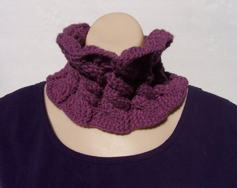 Orchid cabled neck warmer cowl in soft alpaca-wool blend