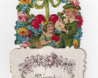 Vintage Loving Greeting Dimensional German Valentine Card, 1920s