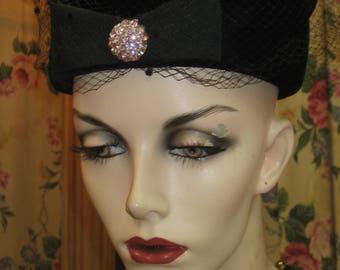 """1960's, 22"""" inside of hat, black velvet pill box hat"""