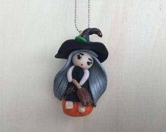 Necklace witch, Fimo witch necklace