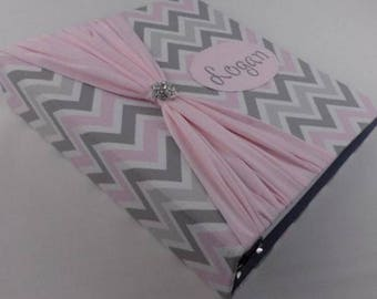 Photo Album Girl Baby Book personalized School Childhood modern Custom Baby Scrapbook pregnancy journal 4x6 5x7 Picture Pink Gray Chevron Z