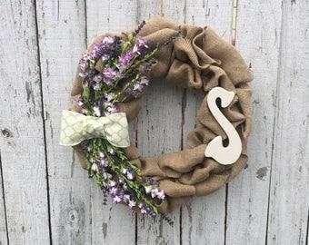 Spring wreath, summer wreath, door wreath, housewarming gift, wedding present, home decor, monogrammed wrea