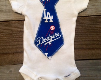 LA dodgers baby boy tie Onesie, dodgers baby boy bodysuit, dodgers baby boy onesie