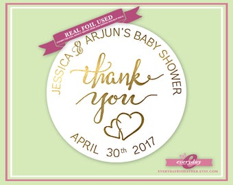 Personalized Foiled Thank You Stickers - Baby Shower - Connected Hearts