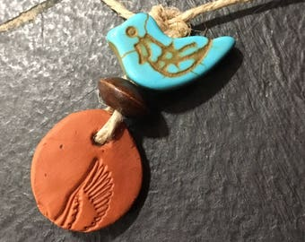100% Organic Hemp, doTERRA Essential Oil Diffuser Necklace, Terracotta clay, Bird Pendant, Aromatherapy Jewelry, Gift for Her