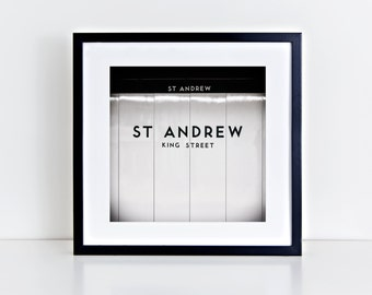 Toronto Art St Andrew Station Subway Sign Black and White Square Wall Art - Made in Canada Toronto Photography - Fits IKEA Ribba Frames