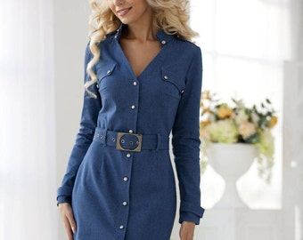 "Elegant denim casual dress ""Universal"", with belt"