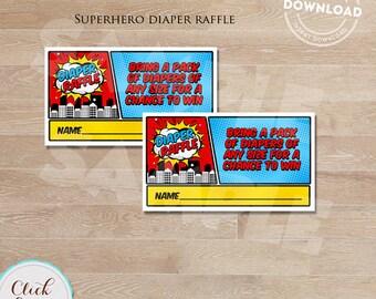 SUPERHERO DIAPER RAFFLE Tickets, Baby Shower Games, Super Hero, Superheroes, baby shower decorations Instant Download