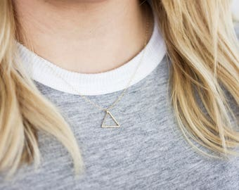 Textured Triangle Necklace (Silver/Gold) - Minimalist Handmade Jewellery