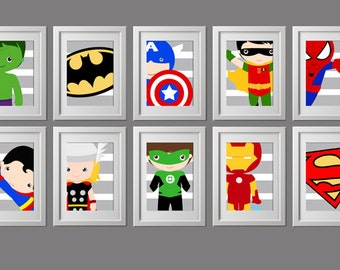 pick 3 PRINTS, PRINTED modern super hero wall art prints, close up modern twist, shipped to your door, Super hero wall prints