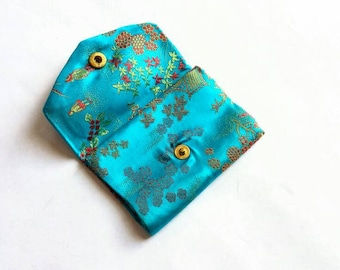 Vintage Aqua Blue Embroidered Brocade Card Holder with Snap Closure - small jacquard floral botanical pagoda asian motif mid century 50s 60s