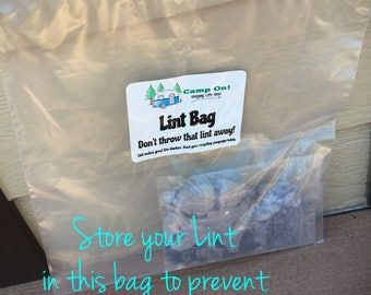 Oops Lint Bag for Storing your Lint from Dryer for Fire Starter HALF Price! Camp On! ® Trademark Brand