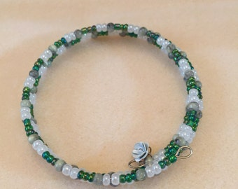 Green and White Memory Wire Bracelet