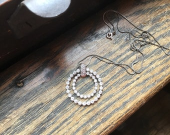 Sterling silver diamond necklace with 2 circles