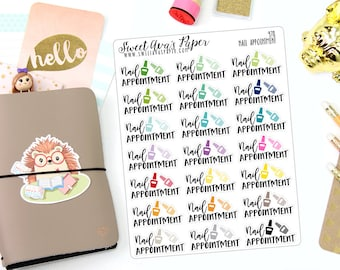 Nail Appointment Planner Stickers - Typography Planner Stickers - Salon Planner Stickers - Nail Polish Sticker - Icon Planner Stickers - 978