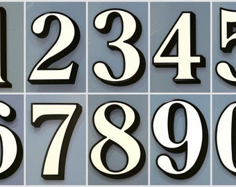 3 x White Transom or Fanlight House Numbers