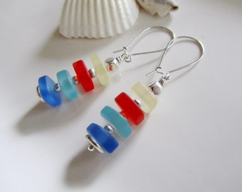 Long Sea Glass Earrings, Red, White, Blue Squares, Stackable, Frosted Glass, Beach Jewelry, Beach Wedding,