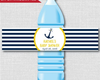 Yellow and Blue Nautical Baby Shower Water Bottle Labels -Nautical Baby Shower- Weatherproof Labels - Digital or Handcrafted - FREE SHIPPING