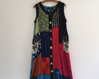 Vintage 90's Patchwork Hippie Dress M