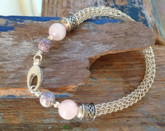 Viking Knit Natural Stone Bracelet, Sterling Silver Rose Quartz Bracelet, Silver Anniversary Gift, Handmade Jewellery