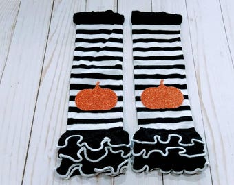 Halloween Leg Warmers, pumpkin costume, pumpkin leg warmers,  ruffle leg warmers, fall leg warmers, black and white legwarmers