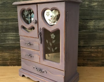 Vintage Lavender Distressed Jewelry Armoire With Hearts and Etched Glass,purple jewelry box,keepsake box,country decor,rustic purple decor