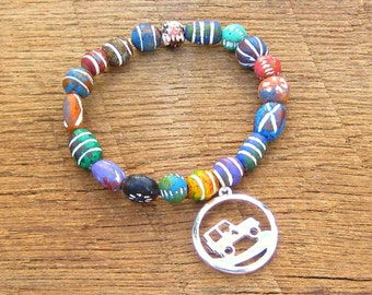 Off Road Vehicle Bracelet country girl mud mudding truck rustic rainbow multicolor beads silver charm stretch stackable