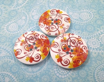 1.5 inch buttons - Autumn leaf wooden sewing buttons - set of 3