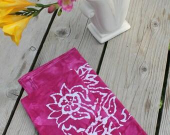 pair of magenta batik dinner napkins